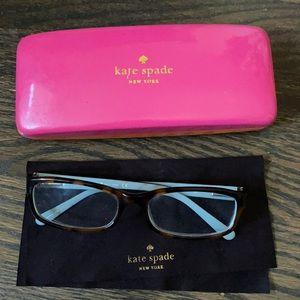 Kate spade pink orange eyeglasses case with frame